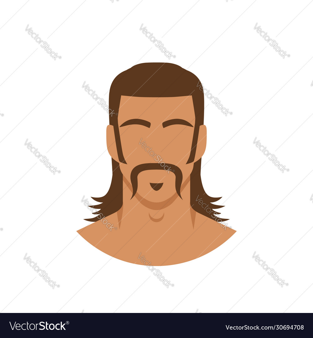 Face man with mustache and mullet hairstyle