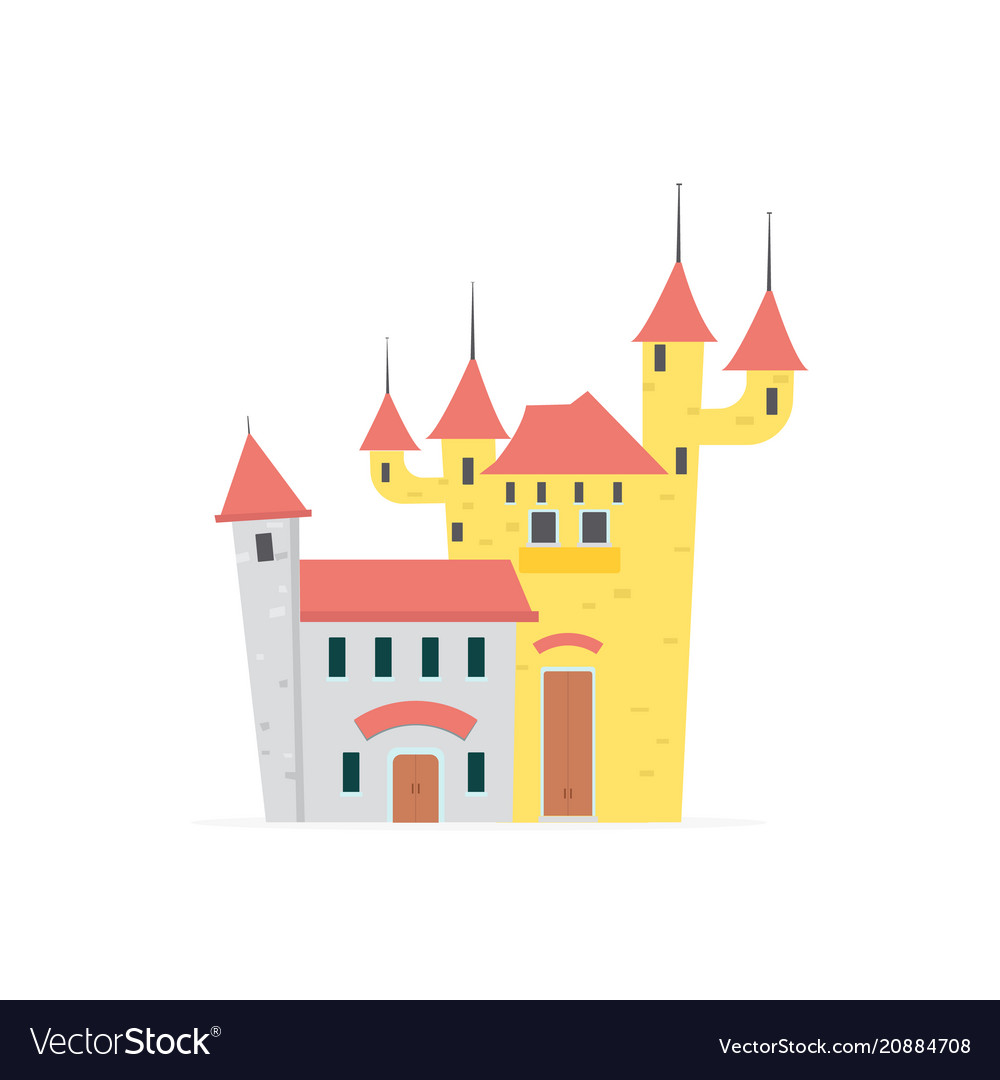 Flat cartoon castle with isolated white