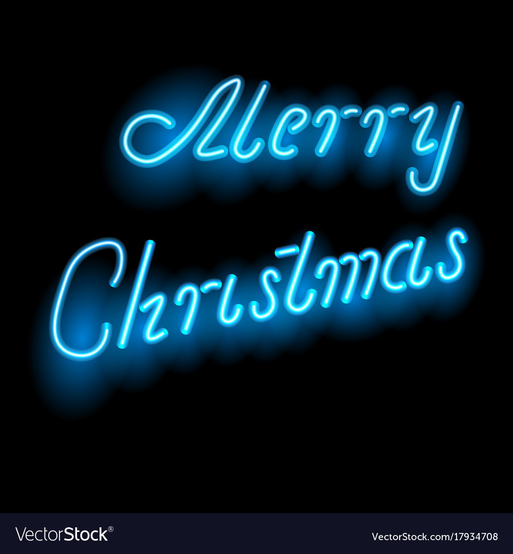 Greeting the words of merry christmas neon light vector image on vectorstock m4hsunfo