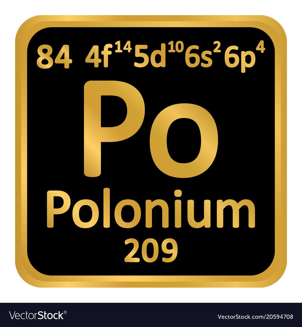 periodic table element polonium icon royalty free vector
