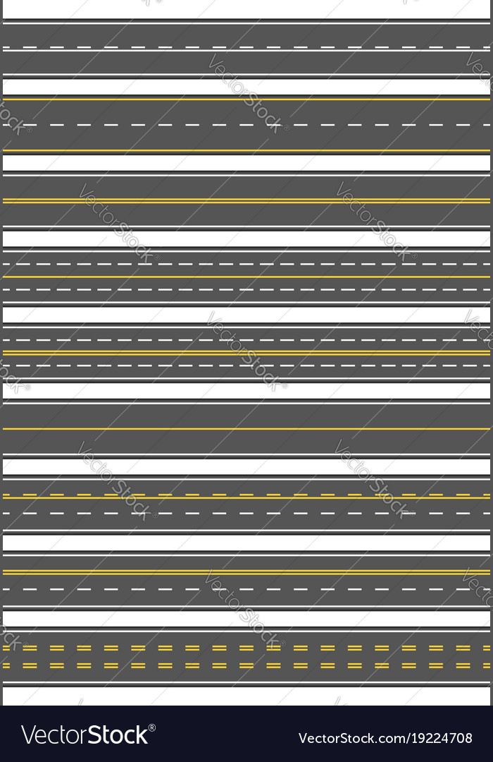 Seamless set of nine different road marking top