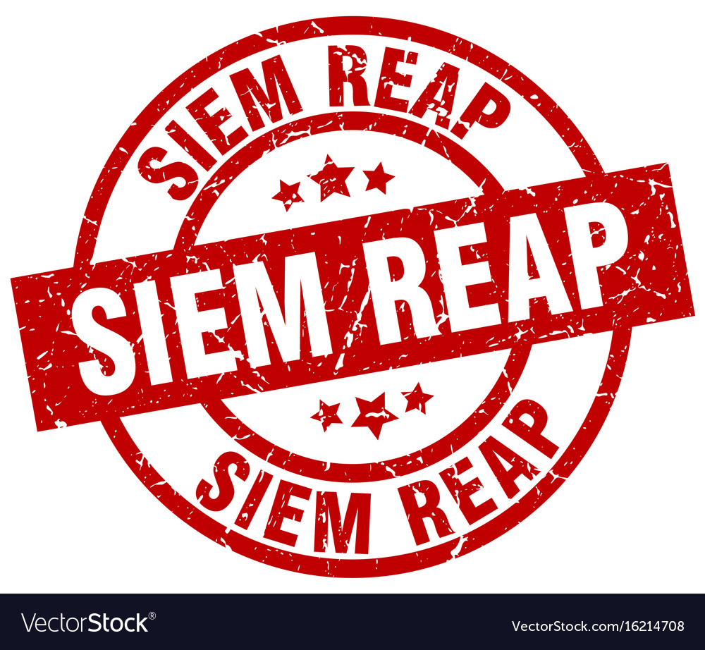 Siem reap red round grunge stamp vector image on VectorStock