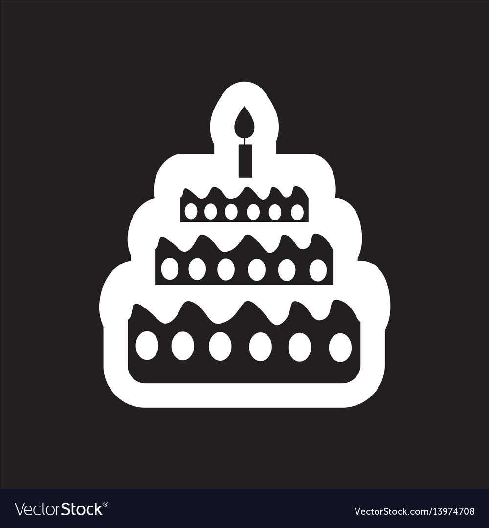 Fine Style Black And White Icon Birthday Cake With Vector Image Funny Birthday Cards Online Alyptdamsfinfo