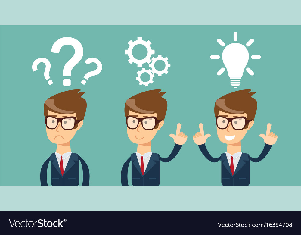 Thinking businessman solving a problem Royalty Free Vector