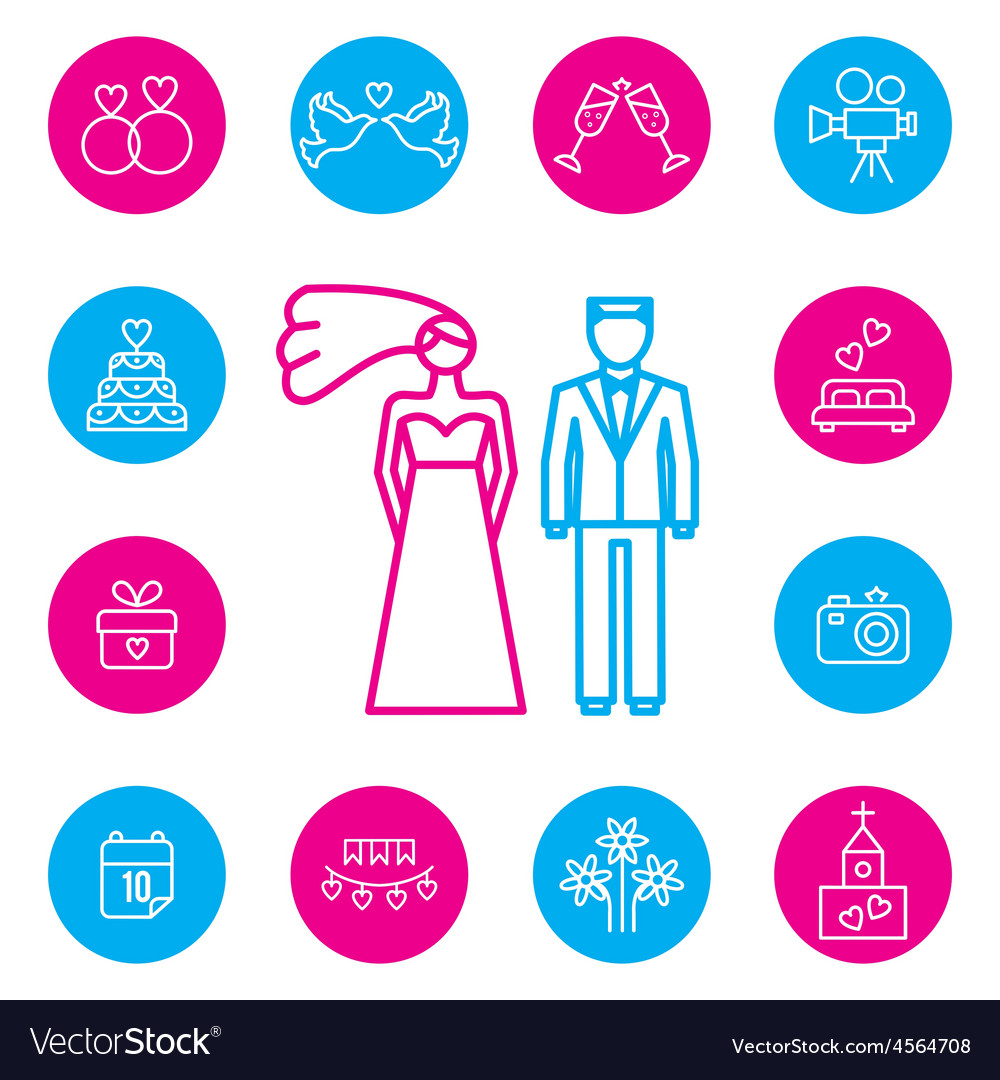 Wedding bride and groom flat icons set vector image