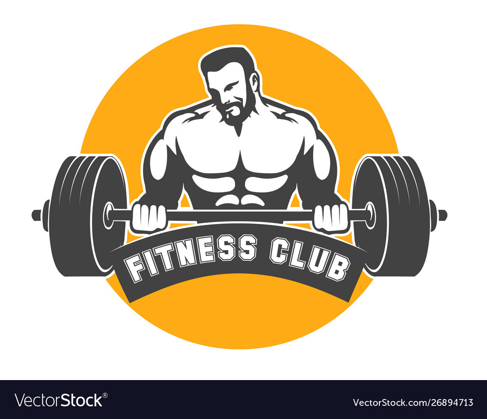 Fitness or athletic club emblem with bodybuilder