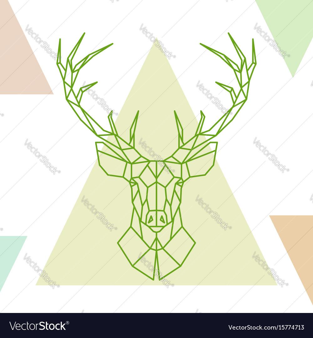 Geometric deer head on colorful triangles