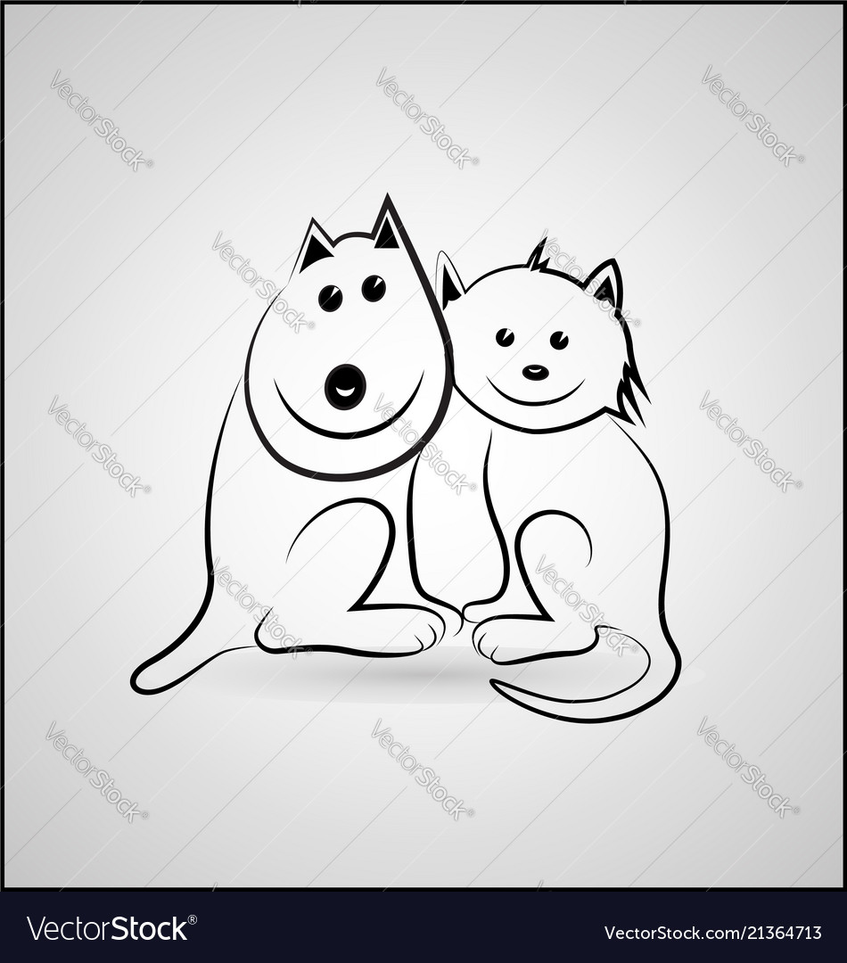 Happy Dog And Cat Cartoon Icon Royalty Free Vector Image