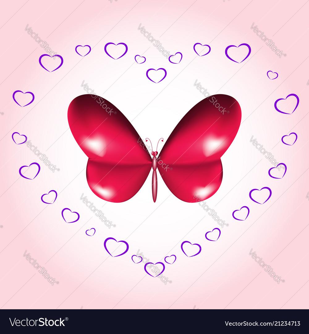 Heart butterfly card
