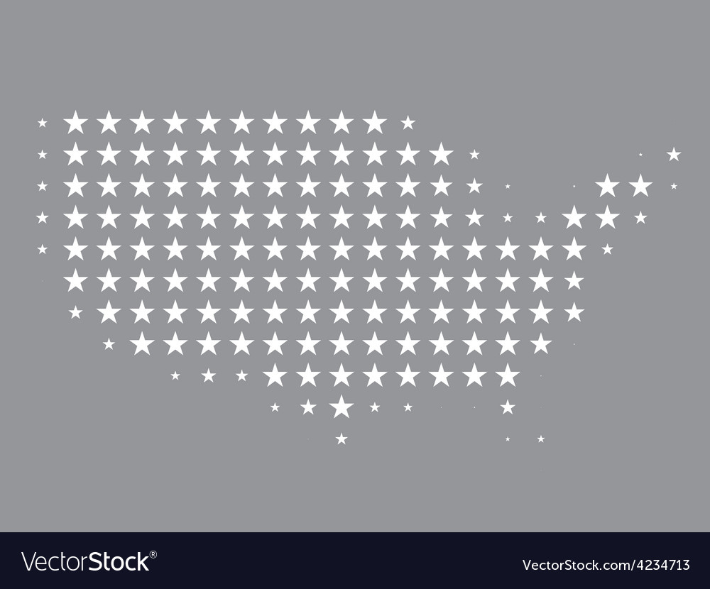 Map of United States made of stars