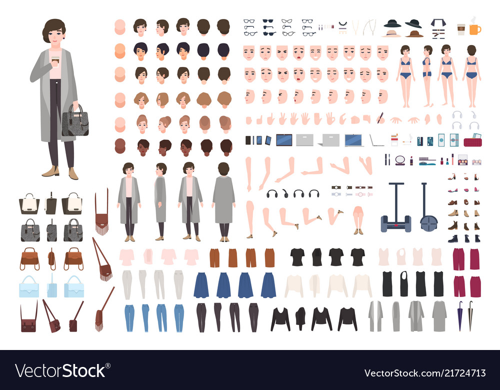 Modern young woman or yuppie animation kit