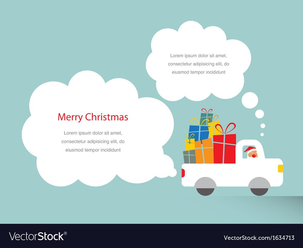 Santa driving a trank full of presents vector image