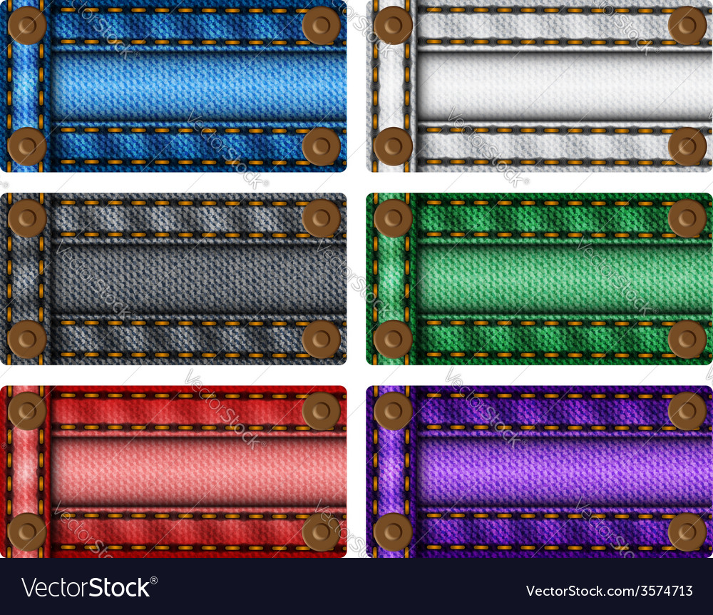 Set of colorful jeans labels vector image