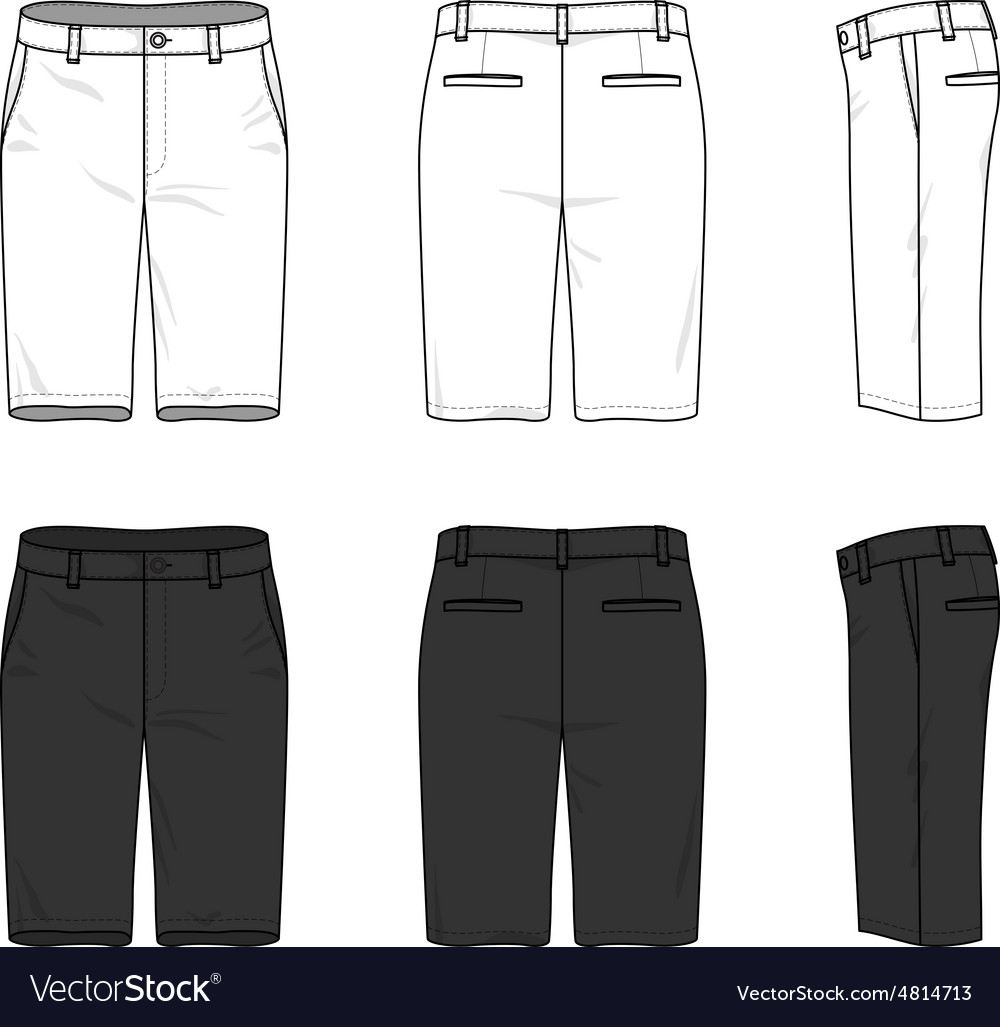 Simple outline drawing of a mens blank shorts vector image