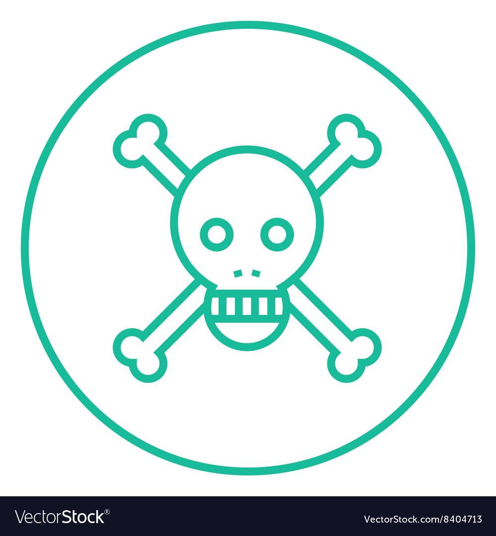 Skull and cross bones line icon