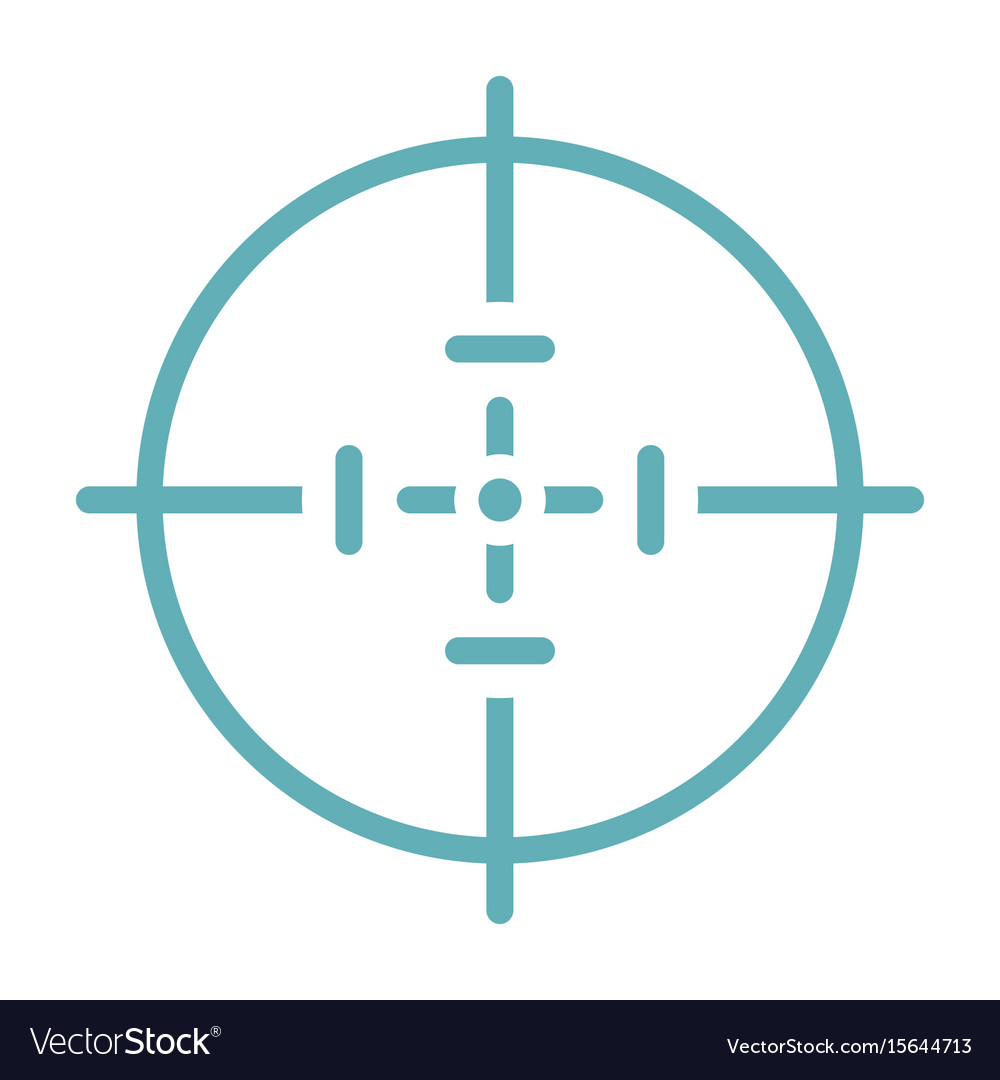 Target aim flat line icon isolated on white