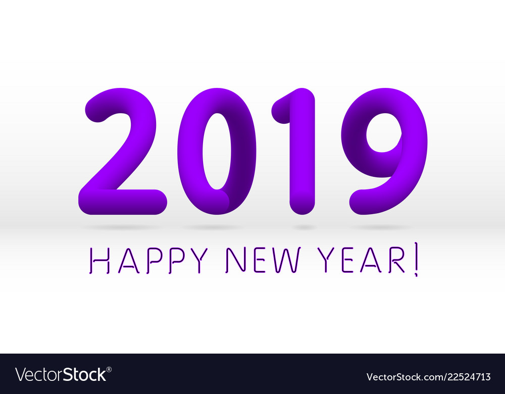 violet purple 2019 symbol happy new year isolated vector image