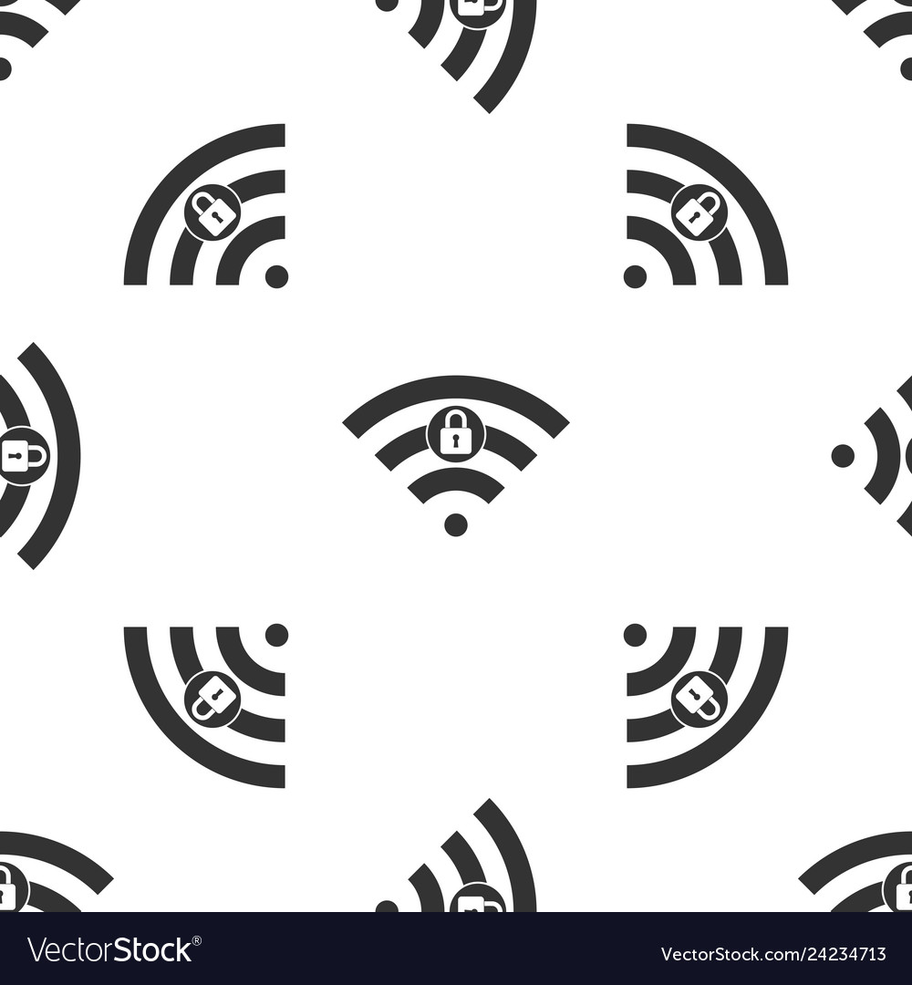 Wifi locked sign icon isolated seamless pattern