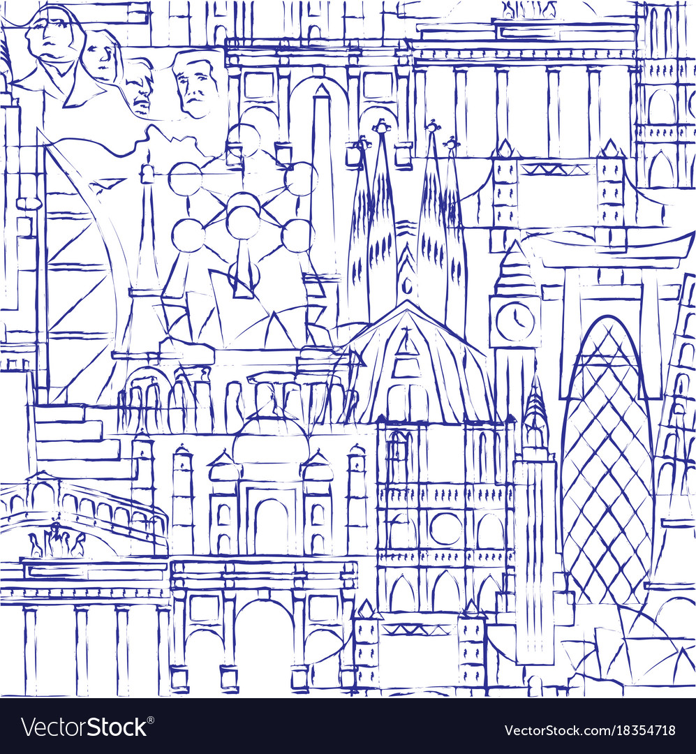 Background of drawings of famous buildings and vector image