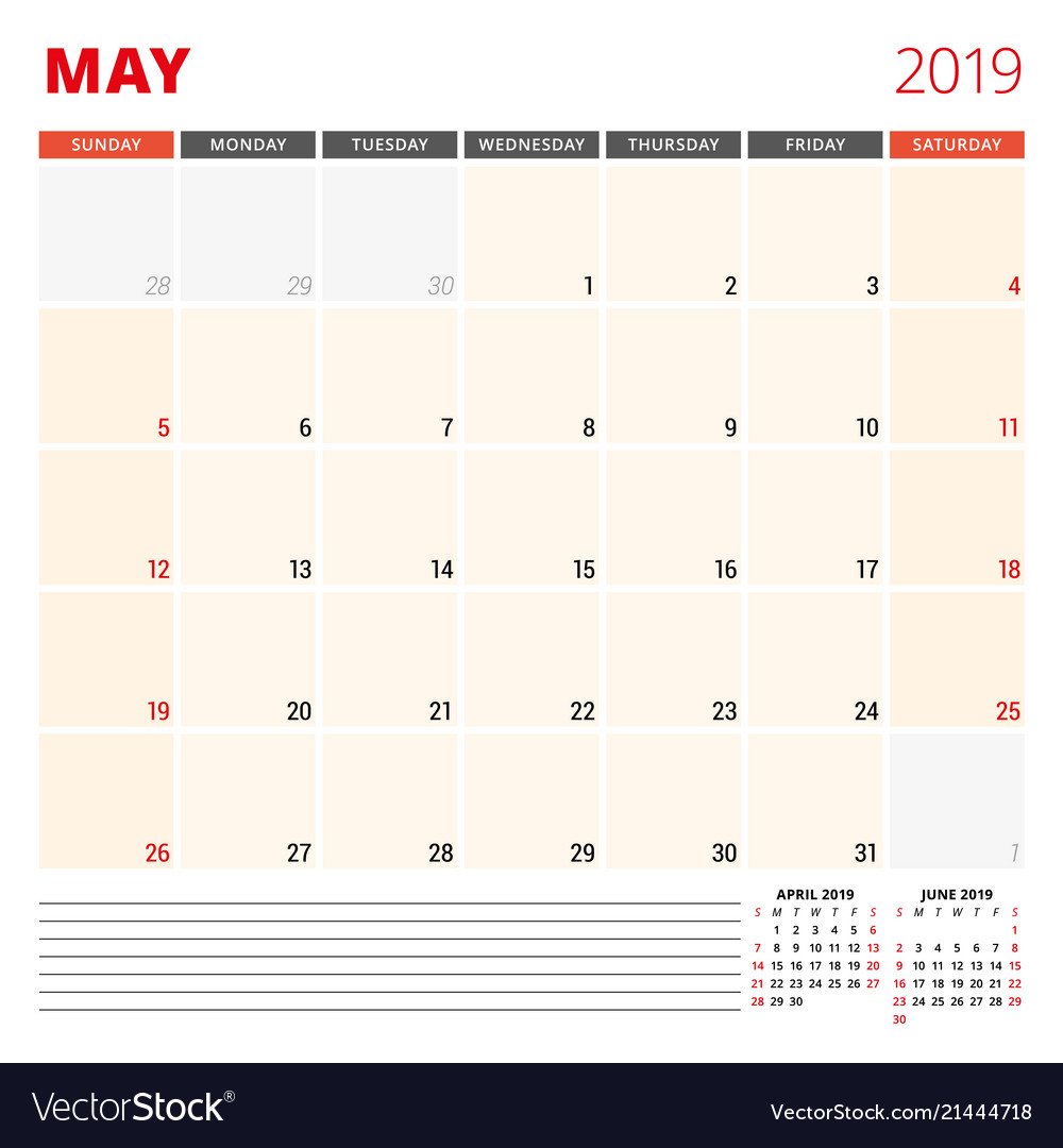 Calendar Planner Template For May 2019 Week Vector Image
