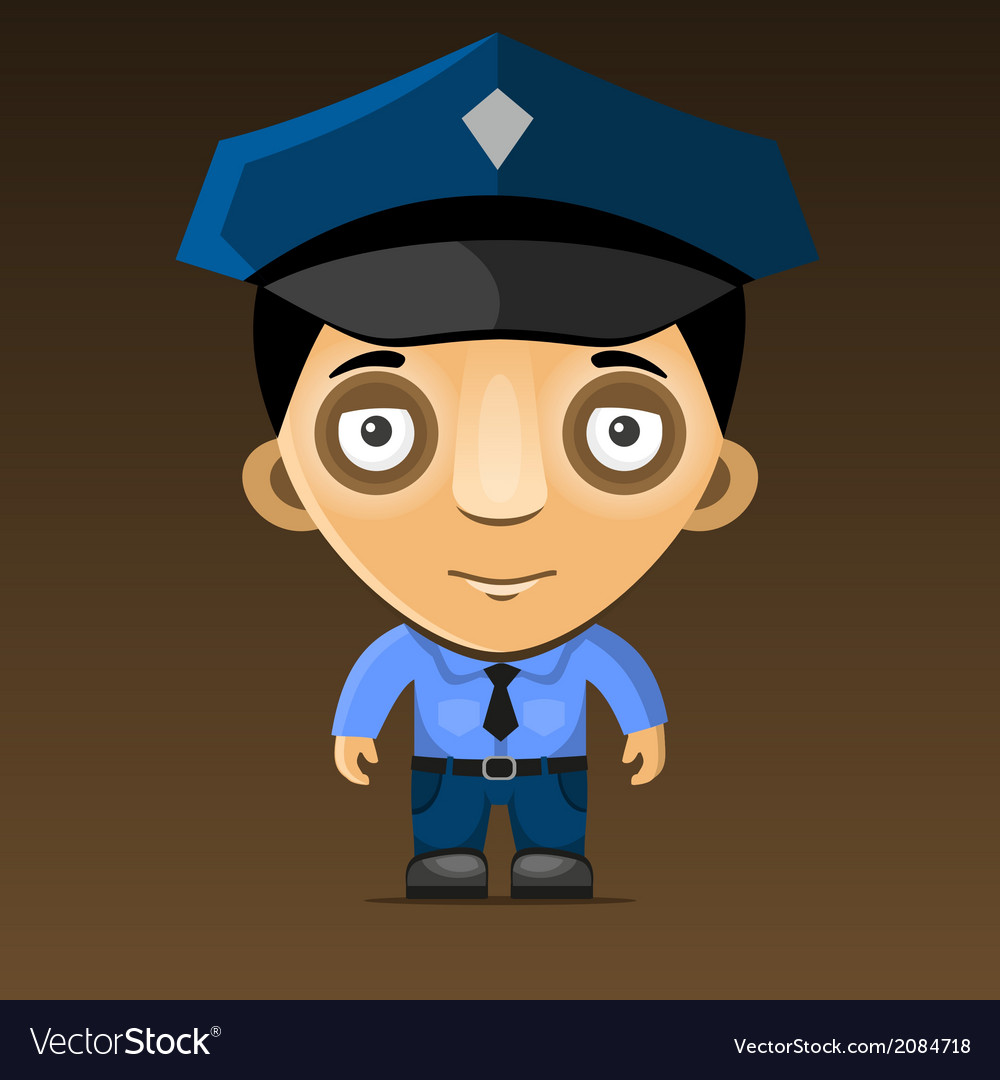 Cartoon Police Officer on Dark Background vector image