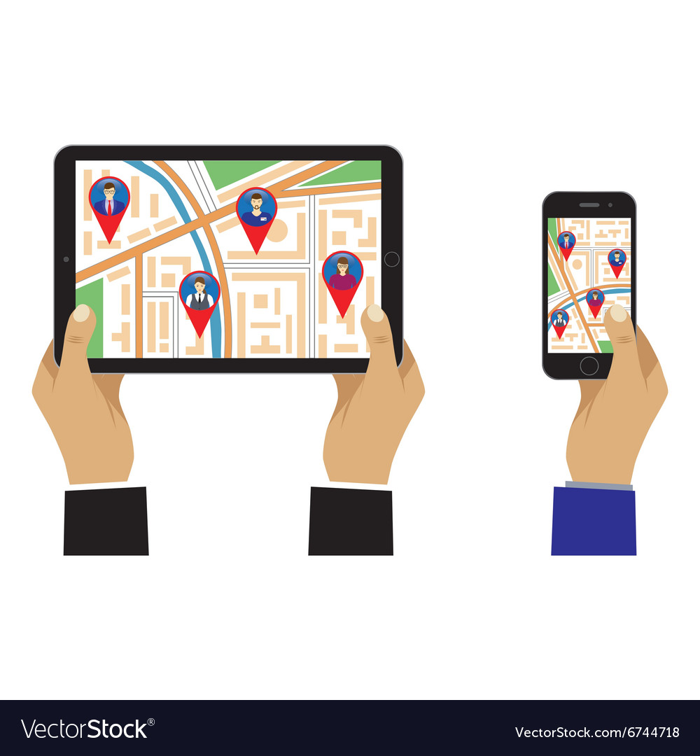 City map on the screen of the mobile device vector image
