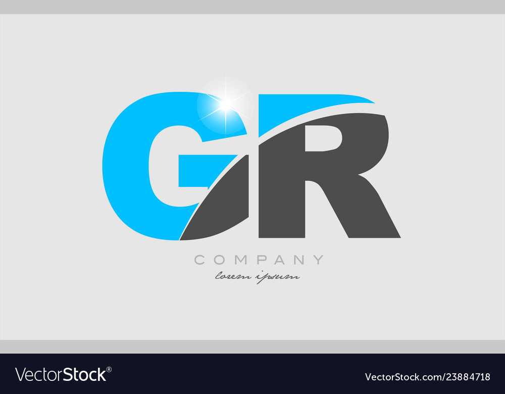 Combination letter gr g r in grey blue color