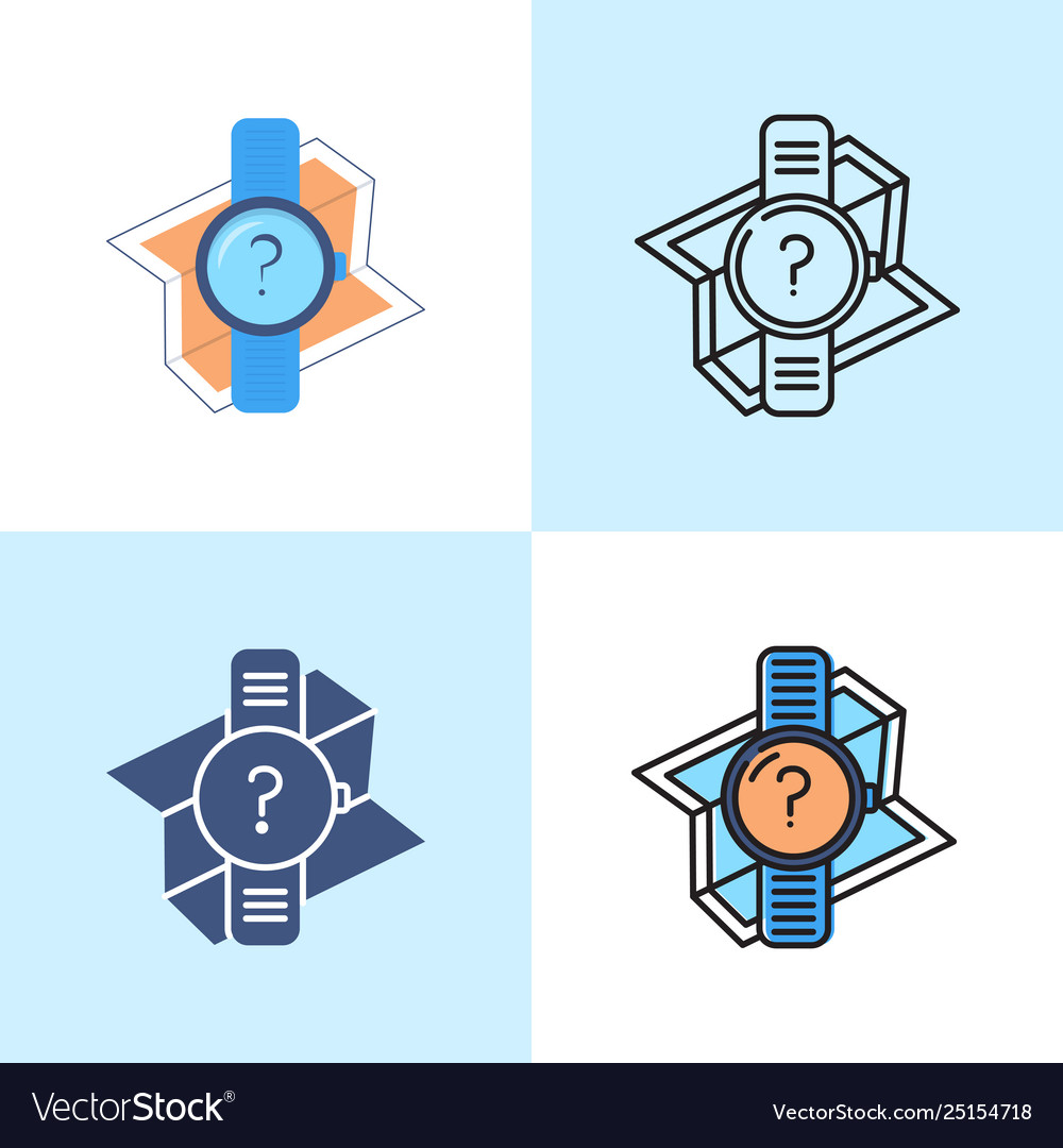 Gps watch icon set in flat and line style