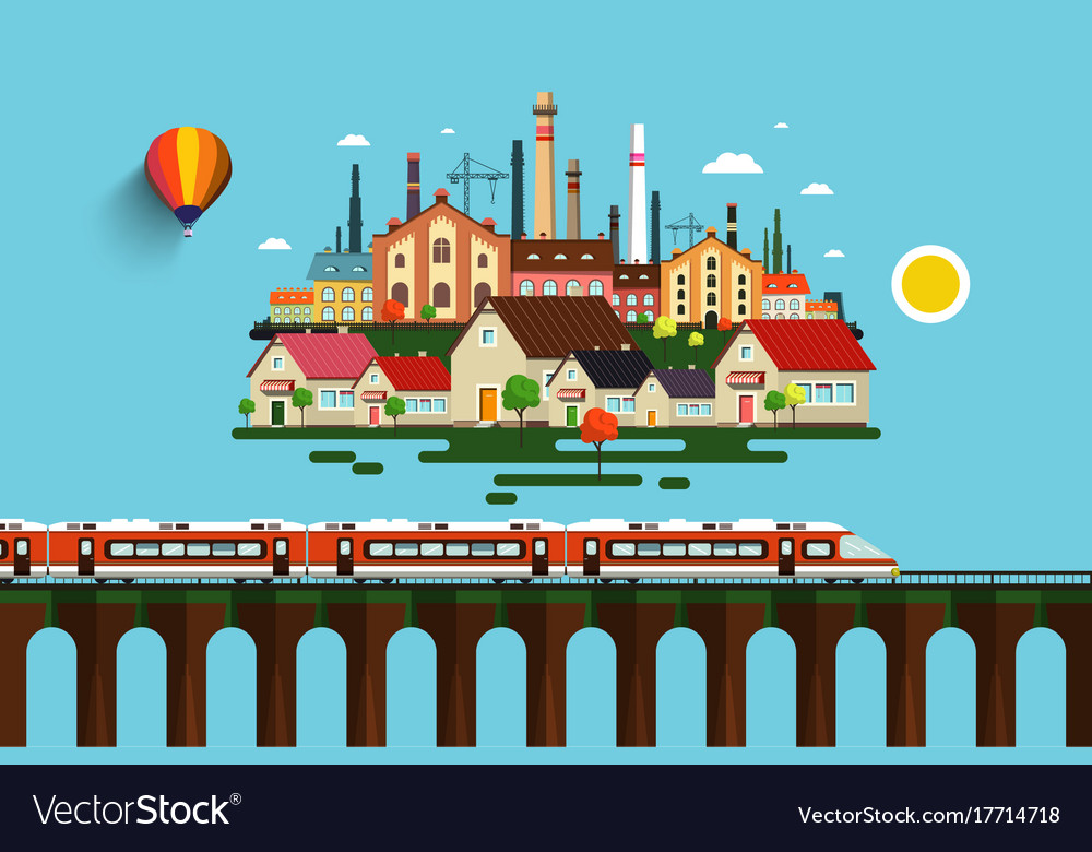 Modern train on high bridge and abstract city on