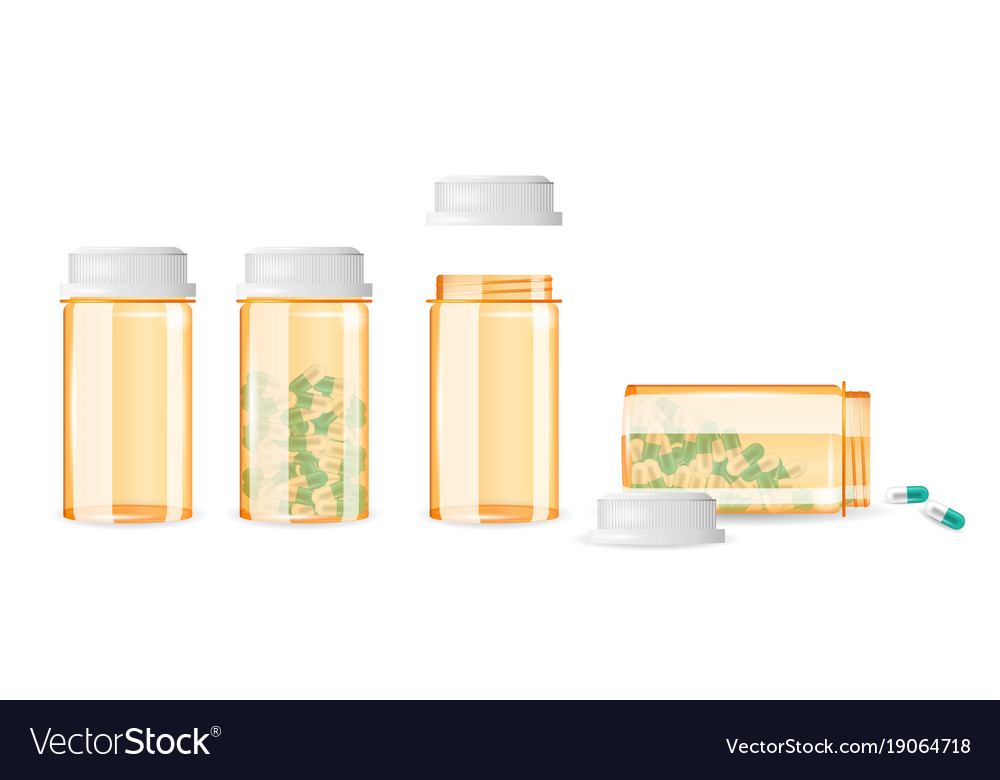 Set of closed and open pill bottles isolated on