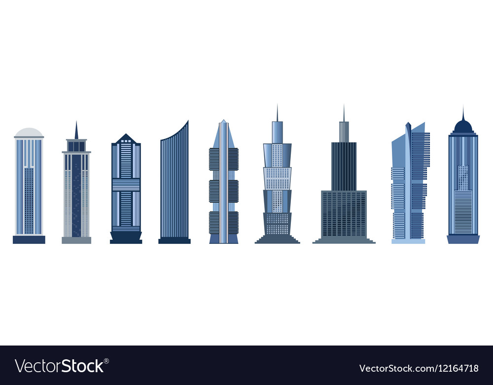 Skyscraper icons isolated on white background