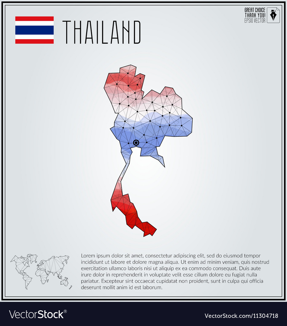 Thailand map in geometric polygonal style vector image