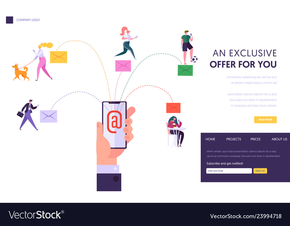 User social network chatting concept landing page