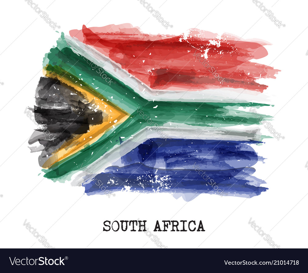 Watercolor painting flag of south africa