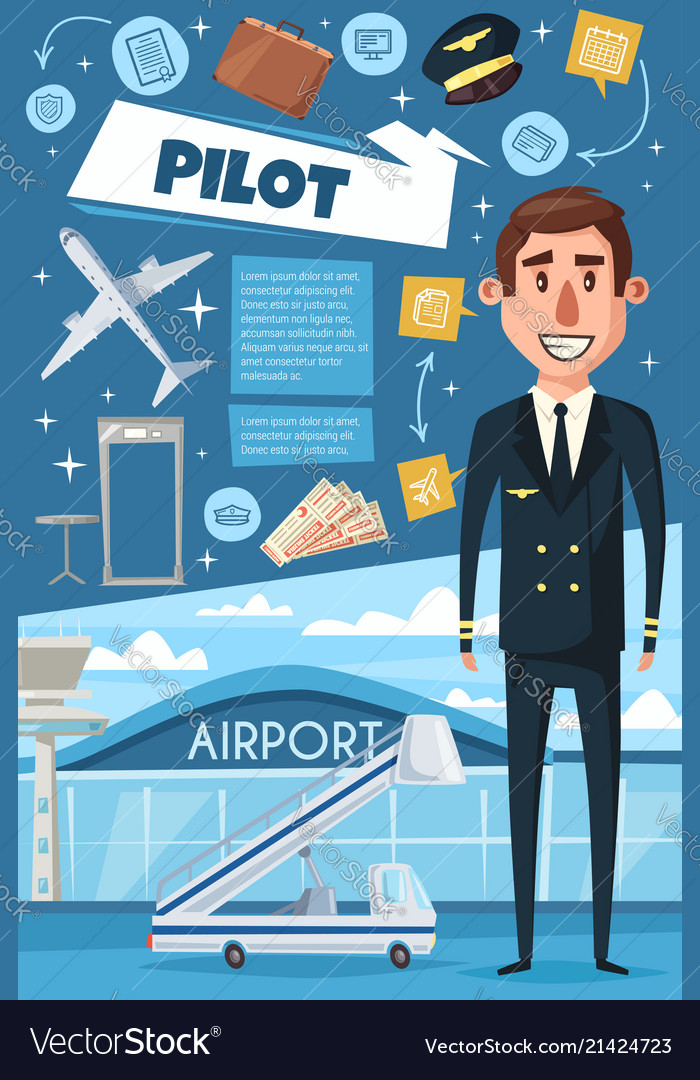 Airline pilot of airplane and airport