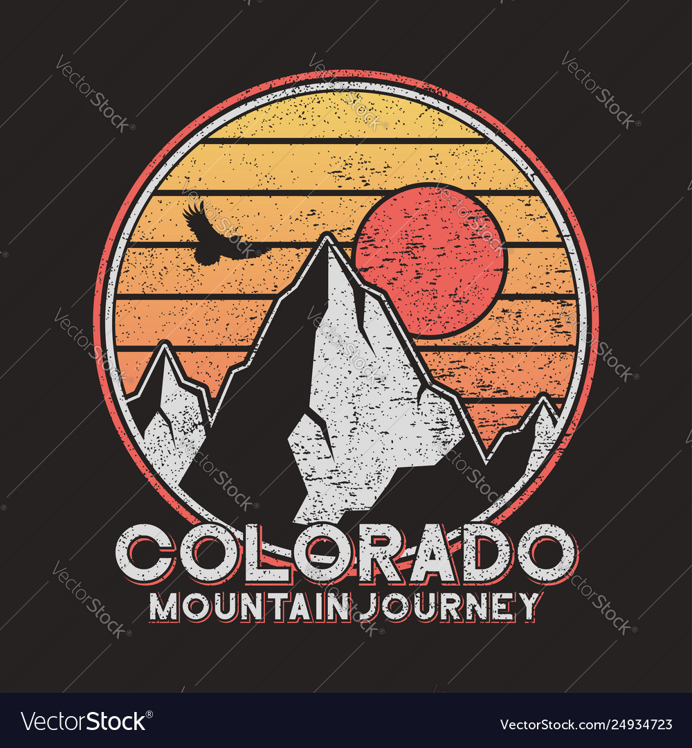 Colorado typography graphics with mountains