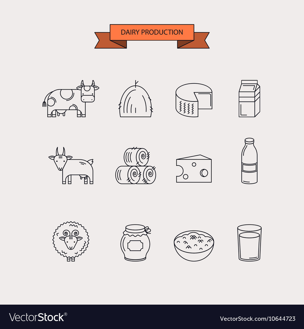 Dairy production Icon set