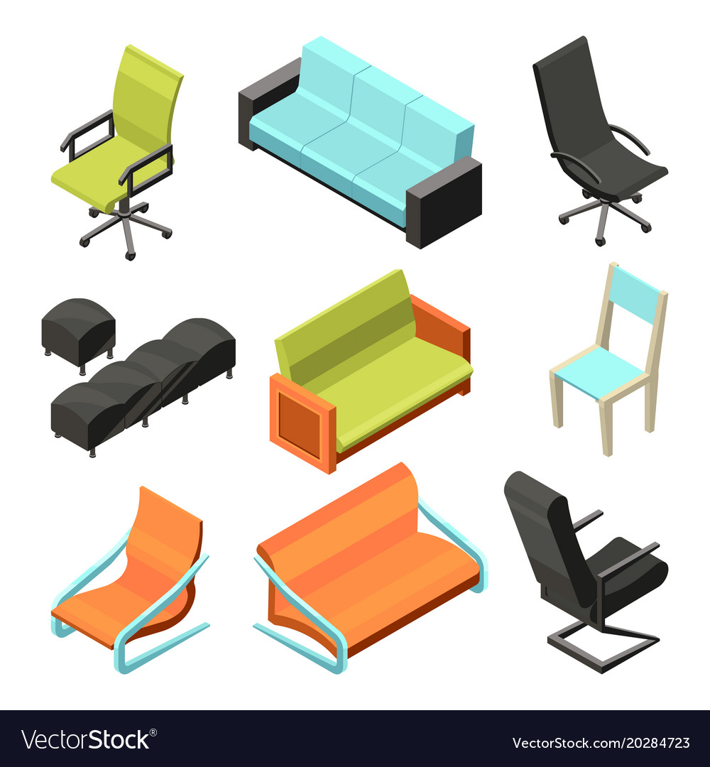 different office chairs isometric vector image furniture collection f62 vector