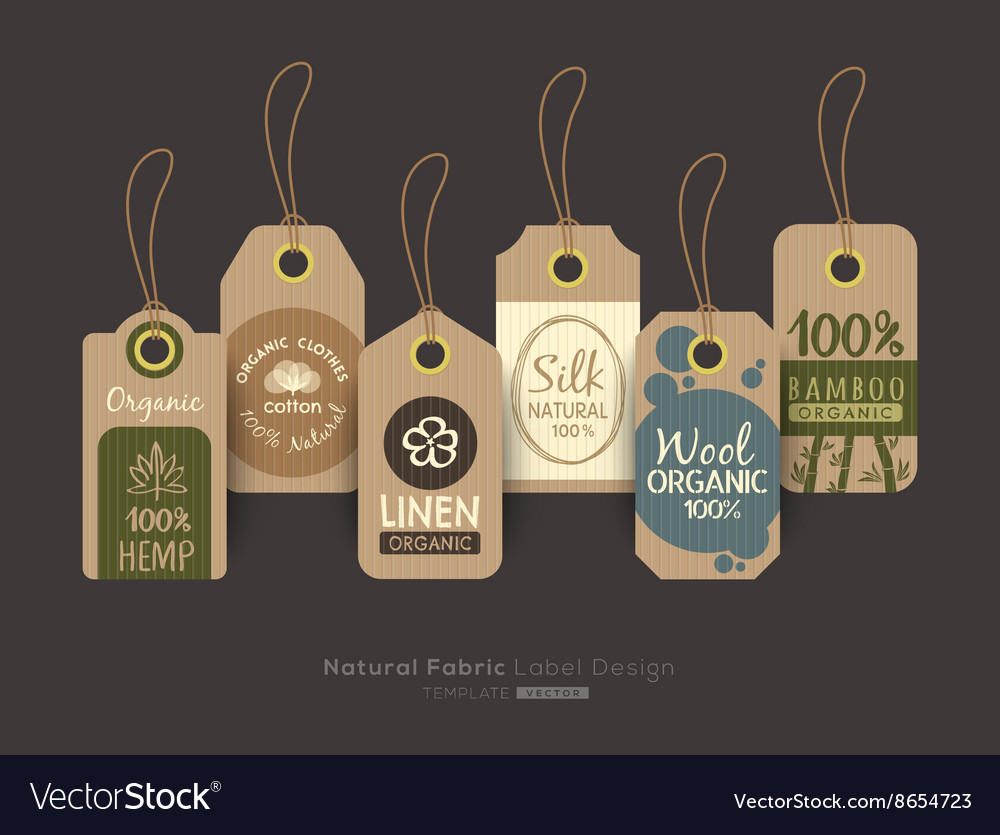 Eco Friendly Fabric Cloth Tag Labels Royalty Free Vector