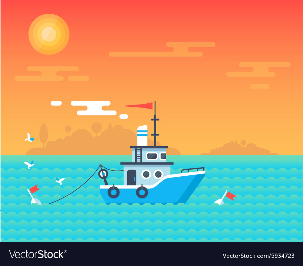 Download Fishing Boat Sunset Card Royalty Free Vector Image