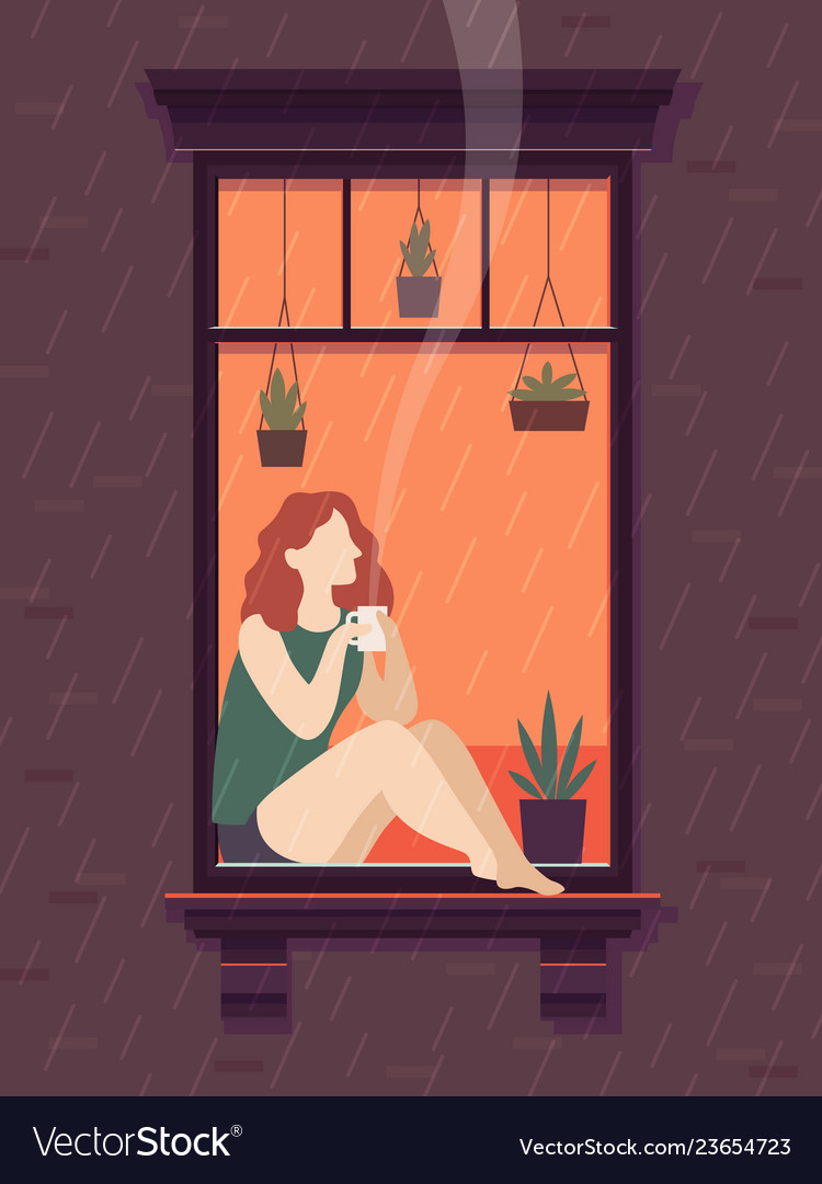 Girl at window with coffee windows person enjoy