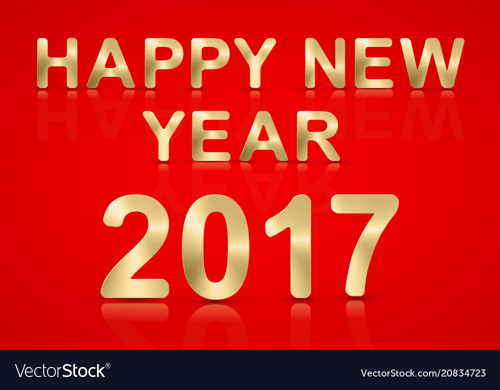 Happy new year 2017 gold text on a red background