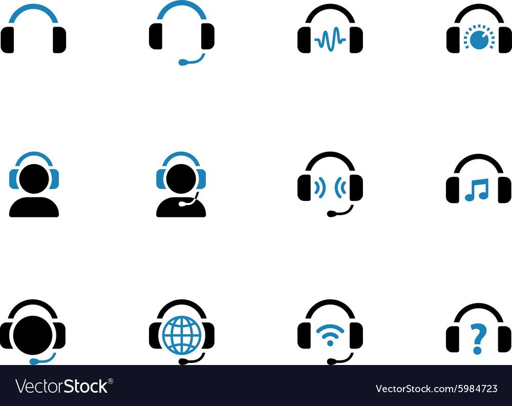 Headphone duotone icons on white background vector image