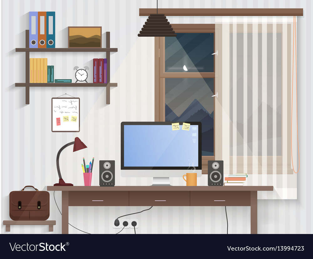 Male teenager room with workplace modern man