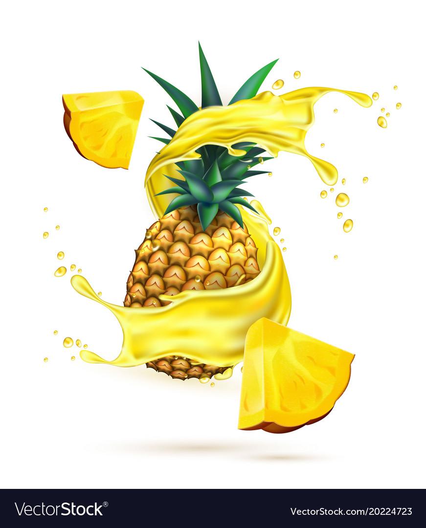 Pineapple realistic. Juice splash slice