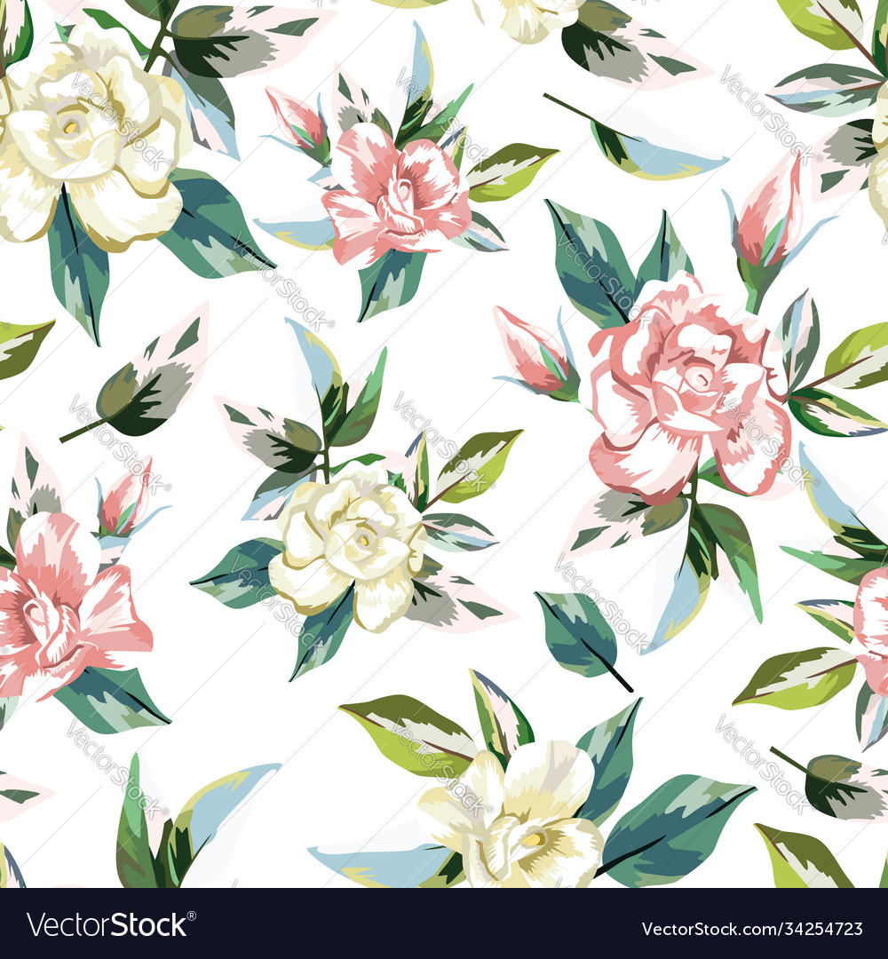 Rose flowers seamless pattern white background
