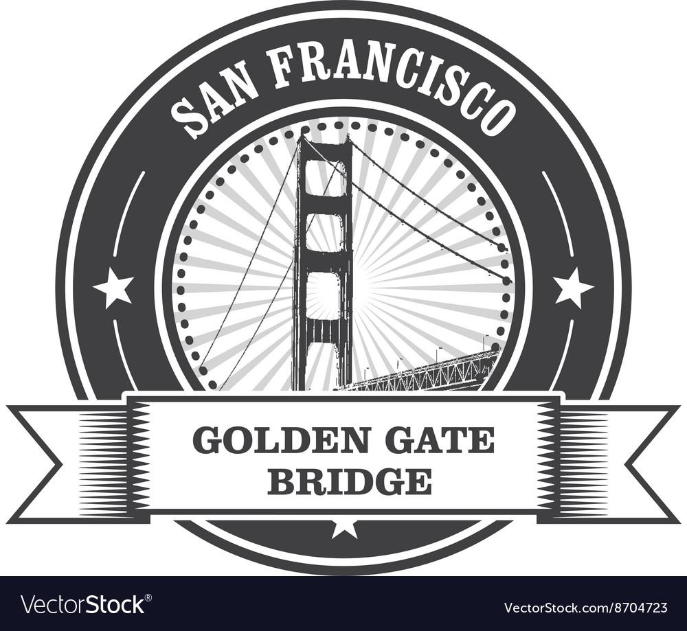 San Francisco symbol - Golden Gate Bridge stamp vector image