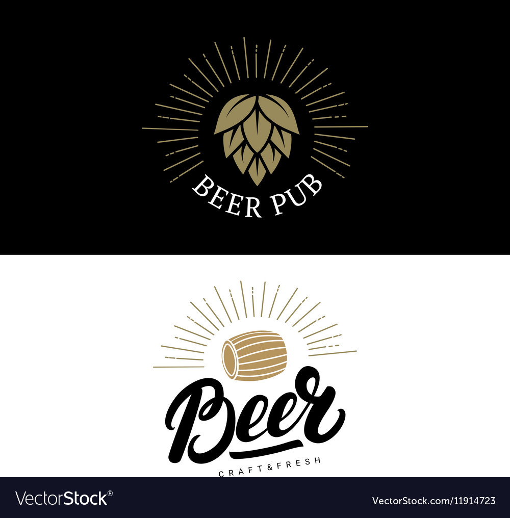 Set of beer hand written lettering logos labels