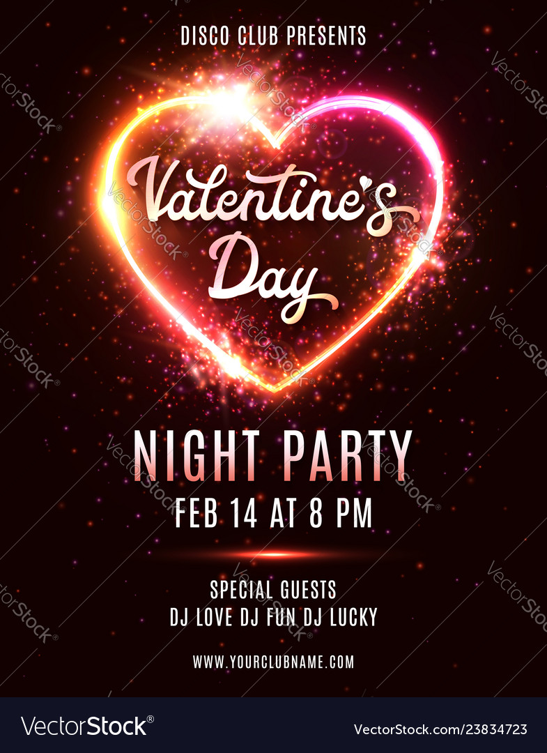 Valentines day party poster disco music dance