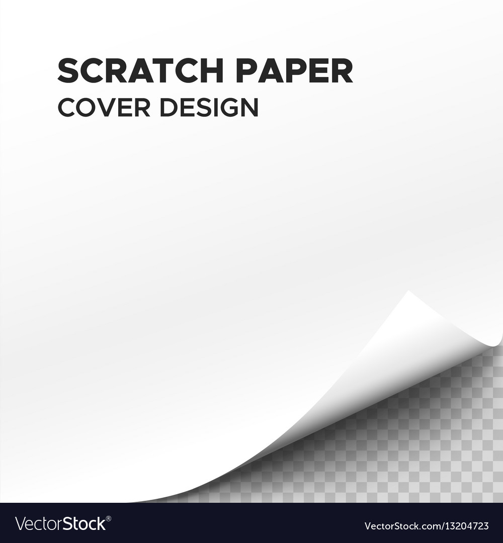 White scratch paper sheet with curl on corner